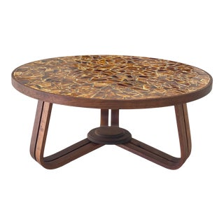 Vintage Bentwood Walnut and Ceramic Mosaic Coffee Table For Sale