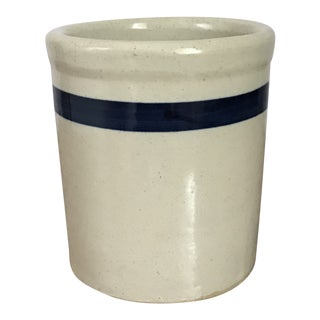 Early 1900's Folk Small Stoneware With Blue Stripe Crock For Sale