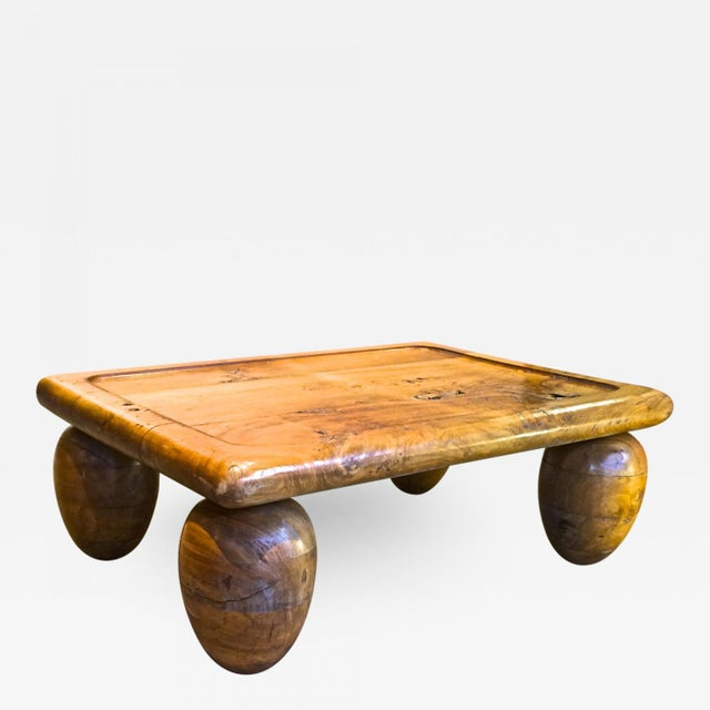 Wood Brutalist Coffee Table With Awesome Olive Shaped Leg For Sale - Image 7 of 7