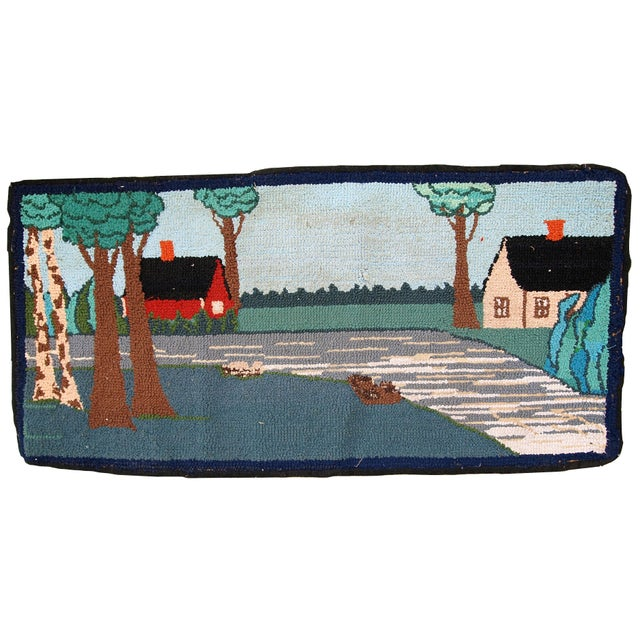 1960s Vintage American Hooked Rug- 1′6″ × 3′ For Sale