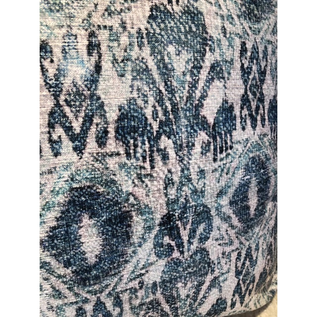 Distressed Blue Ikat Outdoor Pillow For Sale In Chicago - Image 6 of 7