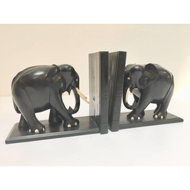 Ebony Hand-Carved Large Ebonized African Elephant Bookends, Circa 1950 For Sale - Image 7 of 13