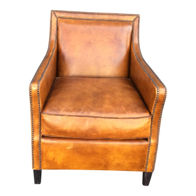 Brown Leather Club Chair For Sale
