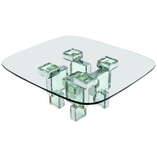 Fused Glass Blocks Base Rounded Glass Top Coffee Table For Sale
