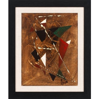 """Circa 1950 """"Géométrique Marron"""" Abstract Geometric Oil Painting by Charles Levier, Framed For Sale"""