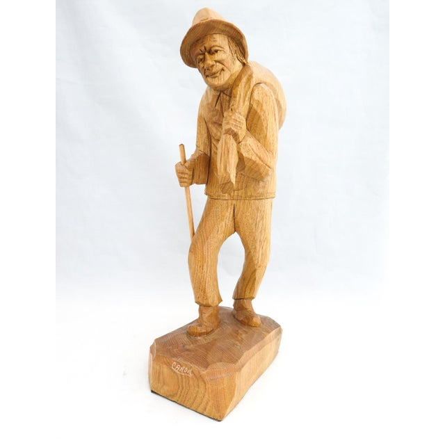 Folk Art Vintage Signed Caron Quebec Wood Carving Old Man with Walking Stick and Bundle on Back For Sale - Image 3 of 7