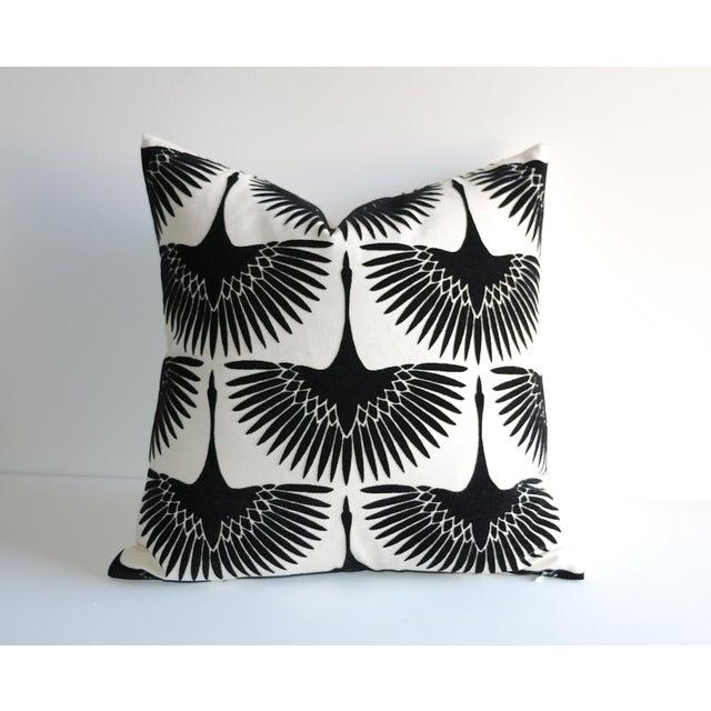 Onyx Velvet Swan Pillow For Sale - Image 4 of 4