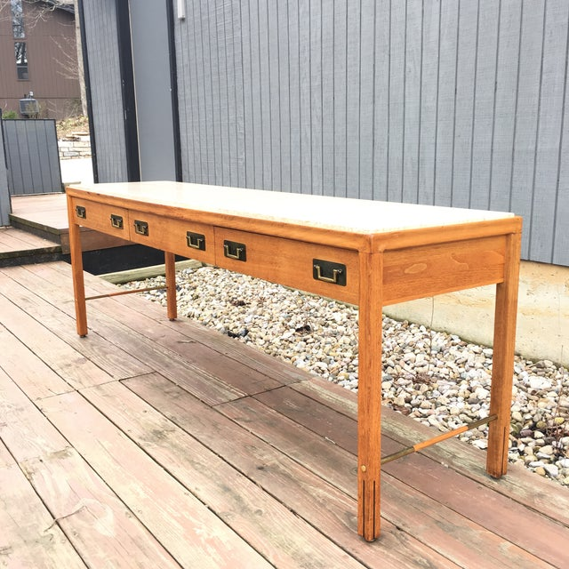Brown 1960s Mid-Century Modern Gerry Zanck for Gregori Long Travertine Sofa/Console Table For Sale - Image 8 of 13