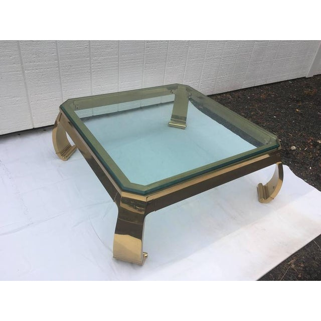 1970's Asian Inspired Brass & Glass Coffee Table by Mastercraft For Sale - Image 9 of 12