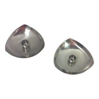Danish Stainless Steel Triangular Candle Holders - A Pair