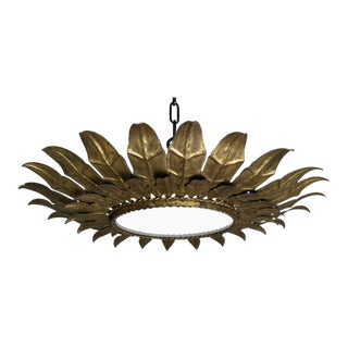 Spanish Gilt Metal Sunburst Ceiling Fixture For Sale