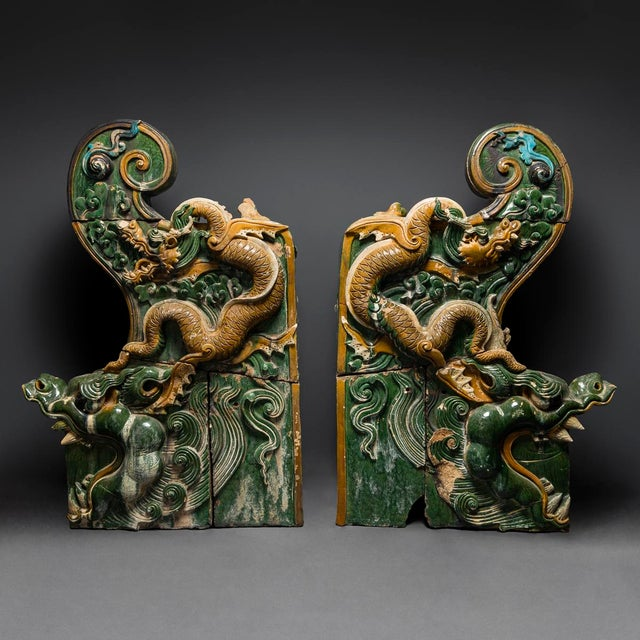 Asian A Pair of Ming Dynasty Glazed Dragon Temple Tiles For Sale - Image 3 of 3