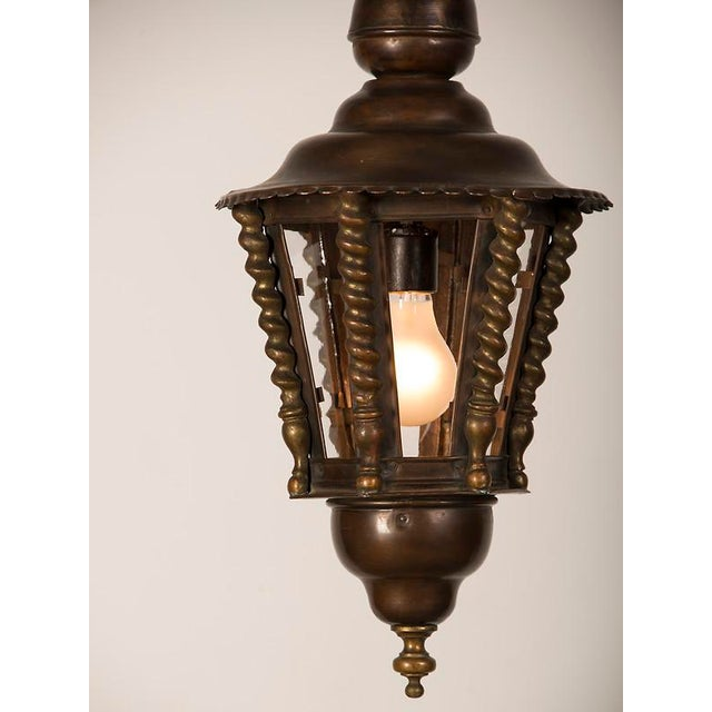 1920s Vintage Hexagonal Handsome Brass French Lantern For Sale In Houston - Image 6 of 7