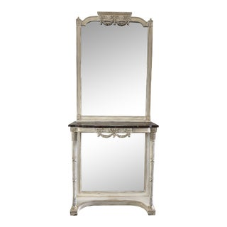 French Antique Marble Top Wall Console Table With Mirror - 19th C For Sale