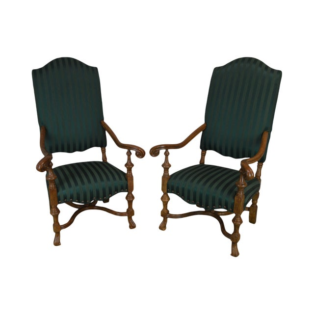 Spanish Baroque Style Custom Quality Pair of Throne Armchairs For Sale
