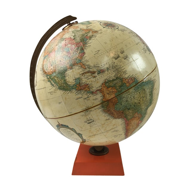 Terrestrial Globe with Orange Base For Sale