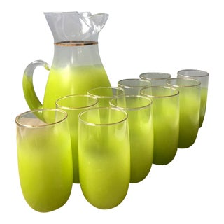 Vintage Spring Green Blendo Pitcher & Tumblers - Set of 11 For Sale