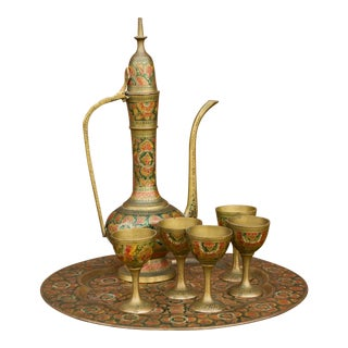 Moroccan Brass Tea Kettle, Set For Sale