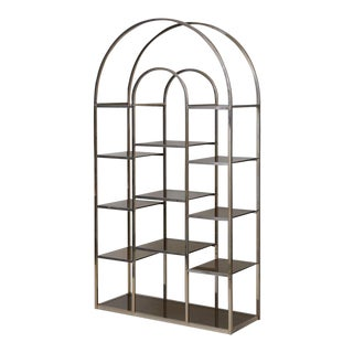 Huge Brass and Tinted Glass Bookshelf or Étagère by Romeo Rega For Sale