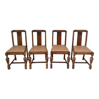1920's Tudor Carved Oak Dining Chairs- Set of 4 For Sale