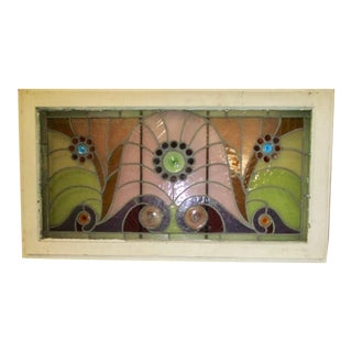 Stain Glass Leaded Window Mounted on Lightbox For Sale