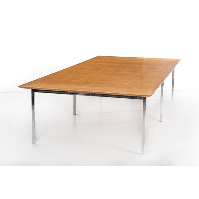 Florence Knoll (b. 1917) Custom table, made for Standard Oil of California in Los Angeles, in a veneer of patinated book-...