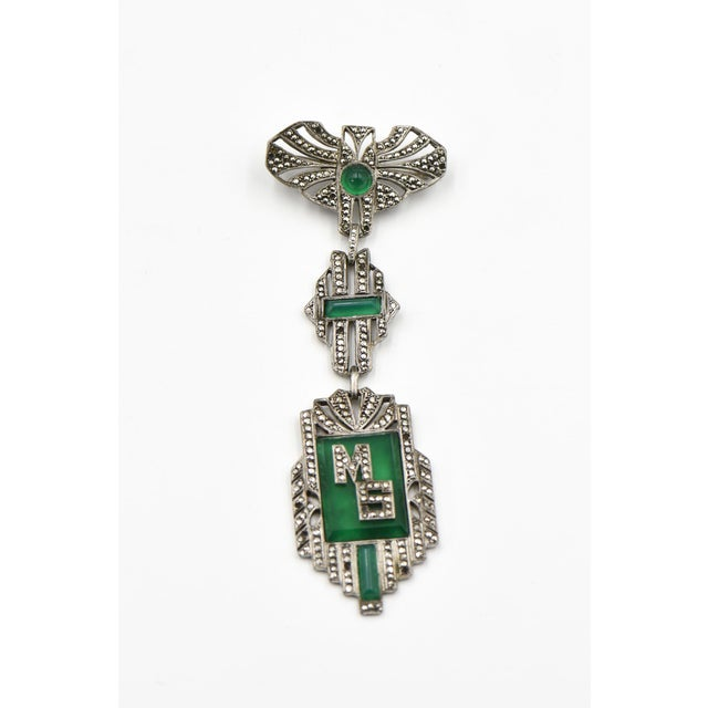 Green French Art Deco Marcasite Initial Brooch For Sale - Image 8 of 8