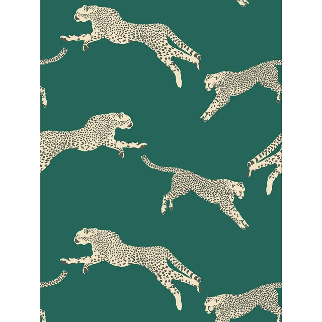 Transitional Scalamandre Leaping Cheetah Wallpaper, Green, 8 Yards For Sale - Image 3 of 3