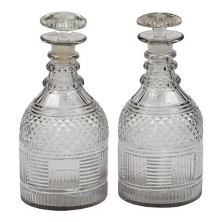 Antique English Cut-Glass Decanters For Sale