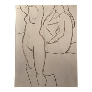 """1990s Contemporary Drawing, """"Two Posing Female Nudes"""" by James Bone For Sale"""