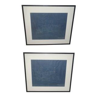 Antique 1933 Blueprints of Kessler Park Dallas Estate - a Pair For Sale