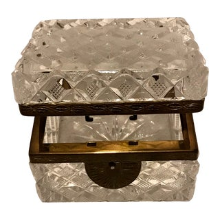 Art Deco Baccarat Style Cut Crystal Casket Jewelry Box For Sale