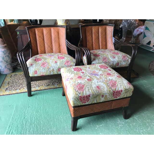 Palecek Rattan and Woven Wicker Pair Chairs and Ottoman For Sale - Image 13 of 13