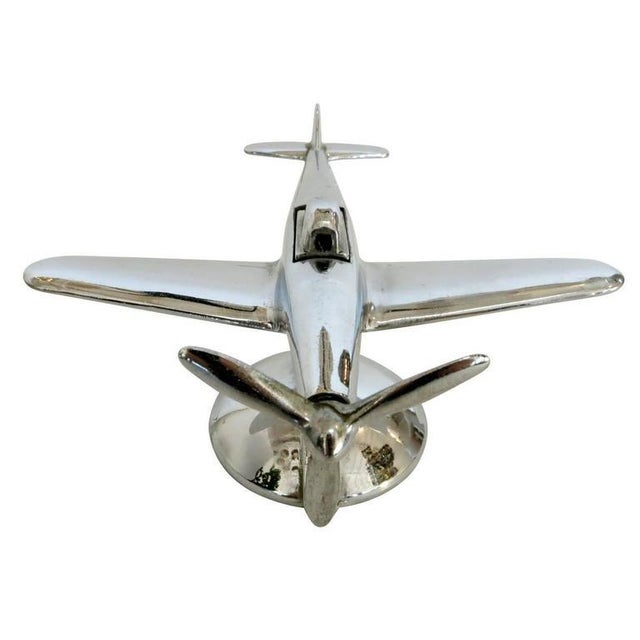 Chrome P-51 Mustang II Airplane Table Lighter by Negbaur - Image 4 of 9