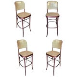 Image of Thonet Number 811 Bentwood Bar Stool W/ Wicker Seat - Set of Four For Sale
