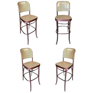 Thonet Number 811 Bentwood Bar Stool W/ Wicker Seat - Set of Four For Sale