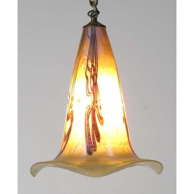 1970s Signed Art Nouveau Sculptural Glass Pendant Light For Sale - Image 5 of 10
