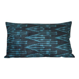 Silk Uzbek Ikat Velvet Hand Made Pillow Cushion,16x24 For Sale