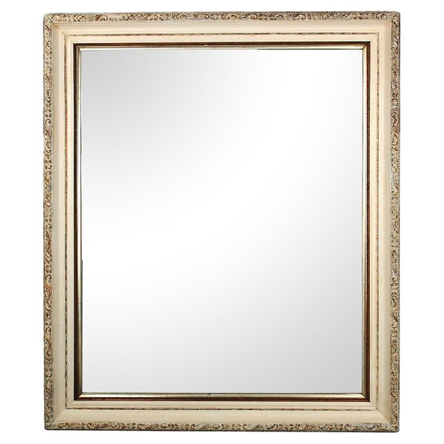 Large Antique Cream and Gold Mirror - Image 1 of 6