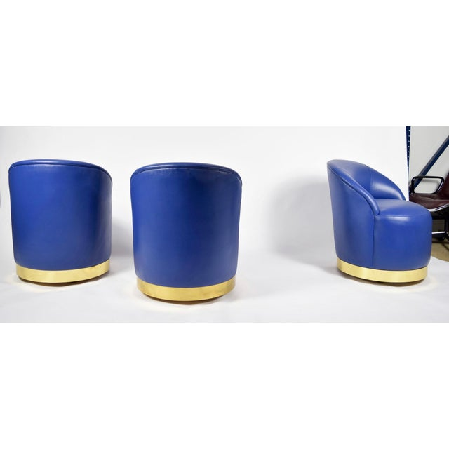 Mid-Century Modern Karl Springer Style Chairs in Blue Leather with Brass Finish Base on Casters For Sale - Image 3 of 7