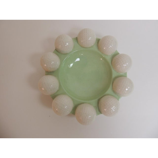 Lodge Vintage Round Green & White Golf Balls Ashtray For Sale - Image 3 of 5