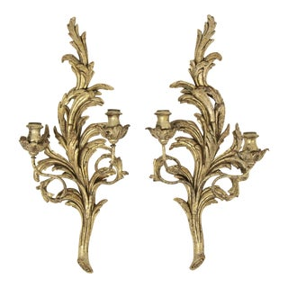 Italian Carved Giltwood Sconces, Pair For Sale