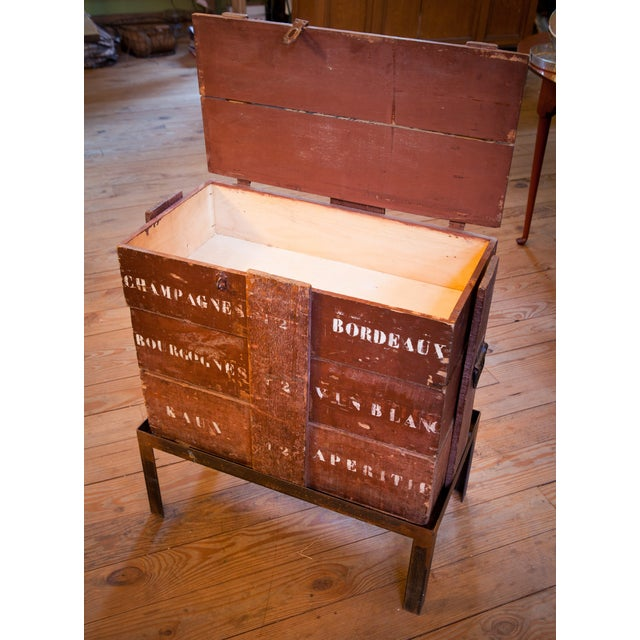 Champagne/ Wine Crate Table with Hand Forged Iron Base, circa 1905 For Sale - Image 4 of 4