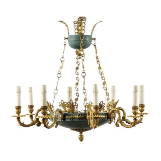 Swedish Empire Style Eight-Light Chandelier of Brass and Iron With Teal Accents For Sale