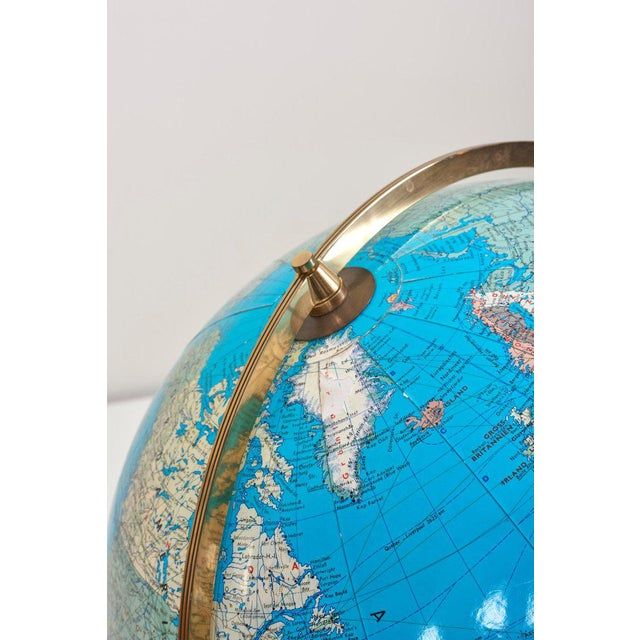 Huge Vintage Illuminated Globe With Brass Stand For Sale - Image 6 of 13
