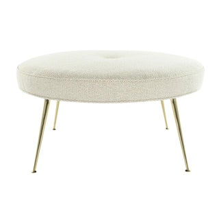 Round Ottoman on Brass Legs For Sale