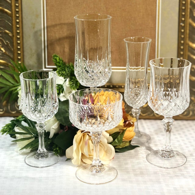 Transparent Cristal d'Arques Durand Longchamp 5 Pc. Place Setting - 6 Sets / 30 Total Pieces For Sale - Image 8 of 10