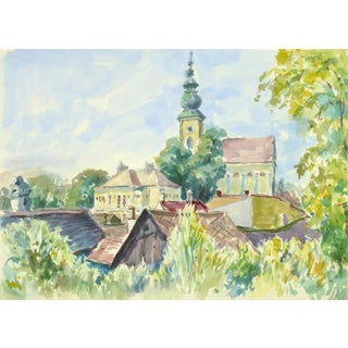 Wilhelm Kloden, French Watercolor Landscape - Village Center For Sale