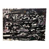 Image of Large Original Black and White Mixed Media Abstract Painting For Sale