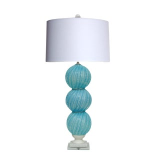 Vintage Murano Glass Stacked Ball Table Lamp Blue For Sale